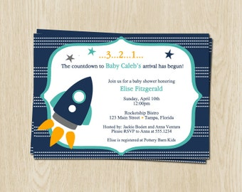 Rocket, Spaceship, Baby Shower Invitations, Boys, Outer, Space, Ship, Blue, Alien, Astronaut, 10 Printed Invites, FREE Shipping, Customized