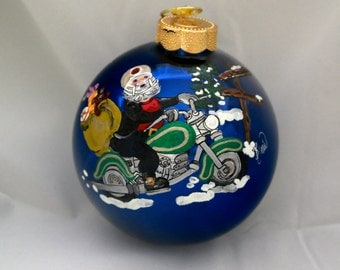 Hand Painted Ornament-Green Motorcycle-Item 854
