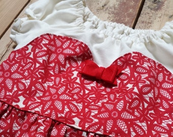 Holiday Sweet Heart Peasant Dress- Baby Toddler Girls - Red Cream - Lace Floral Cotton Fabric - Holiday - Christmas Hannukah