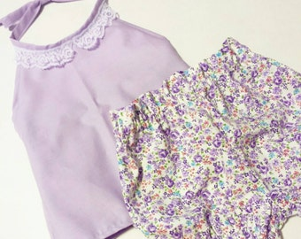 Lavender Halter Top and High Waisted Shorts -Baby Toddler Girls Bloomers Shorties -Summer Birthday Pics Beach Birthday- Vintage Floral Lace