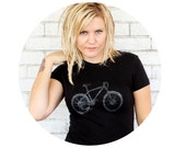 Mountain Bike Ladies Tshirt, Hand Printed Screen-print T Shirt, Cotton Crewneck Black Graphic Tee, Biking, Biker, Cyclist, Short Sleeved