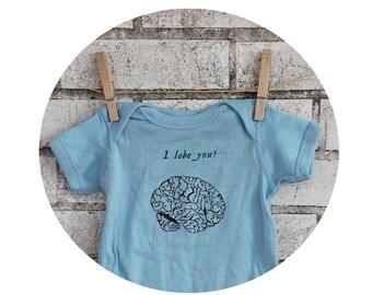 "Baby Bodysuit, Brain With Text ""I Lobe You"", Zombie, Neurologist, Brain Surgeon, Baby Clothing, Light Blue, Baby Boy One Piece Romper, Funny"