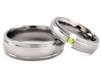 Matching Titanium Wedding Ring Set - Pick Your Gemstone, His and Her Titanium Ring Set:7HR2G-XB.5HR2G-XB-TENS