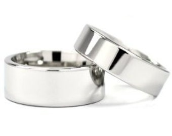 Cobalt Rings For Him And Her, Matching Wedding Rings, Cobalt Ring Wedding Ring Set : COB-8FP.6FP