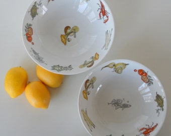 Vintage K&A Krautheim Selb Bavaria Germany Set of Two Serving Bowls, Sealife and Vegetable Motif