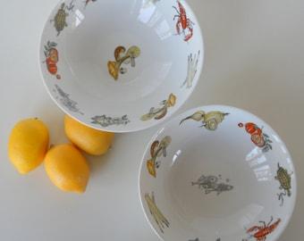 Vintage K&A Krautheim Selb Bavaria Germany Set of Two Serving Bowls, Sealife and Vegetable Motif