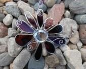 Stained Glass Flower - Purple - Suncatcher - Handmade - Christmas