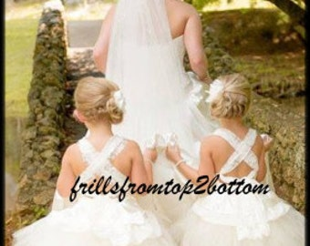 Lace, Ivory, Rosette, Shabby Chic, Modern Vintage Flower Girl Dress . Tutu Skirt . Halter Top w/ Lace straps . Sizes 12mo - 5T