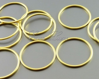 4 plain 20mm circle pendants, modern round connectors, jewelry findings supplies, hoop pendants 997-MG-20 (matte gold, 20mm, 4 pieces)