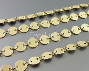 1 foot SHINY gold connected small 6mm disc chains, blank disc chains for jewelry making, gold chain B060-BG