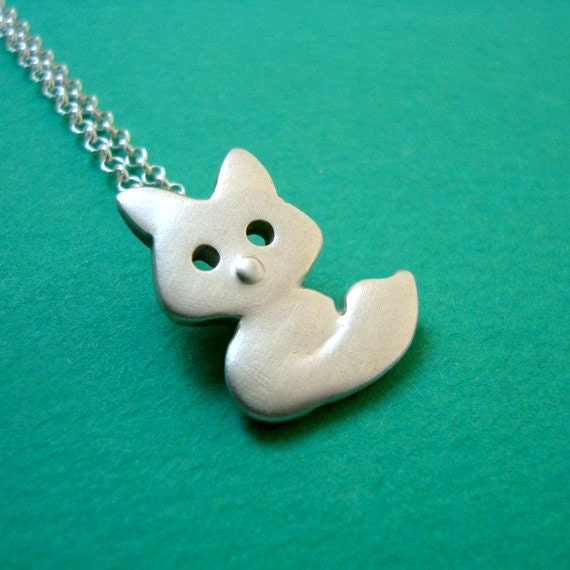 Fox Necklace in sterling silver Kid Teen jewelry gift girl cute charm necklace mom gift teen dainty necklace animal jewelry woodland for her