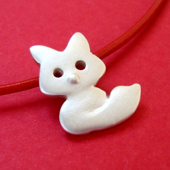 Fox Necklace in sterling silver Kids Teen jewelry gift girl cute charm necklace mom gift teen dainty spring necklace animal jewelry woodland