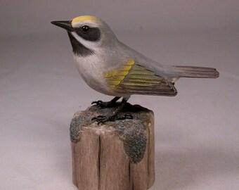 Golden-winged Warbler Wood Carving