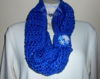 Royal Blue Ice Crochet All Season Cowl - scarf, crochet, blue, snowflakes, neck warmer, cowl, sparkly, accessory, winter wear, women, winter