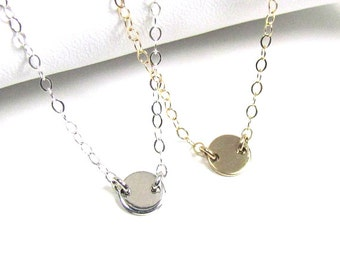 TIny Disc Necklace, 6mm Hammered or Polished Disc Station Necklace, Sterling silver or Gold Filled