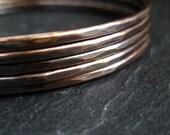Bronze bangles, stacking bangles, hammered bracelets, skinny bangles, antique bronze finish, metalwork jewelry, bronze wedding anniversary
