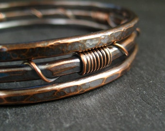 Copper bangles, stacking bangles, hammered bracelets, wirewrapped bangles, copper wedding, 7th wedding anniversary gift, bangles for women