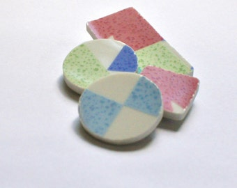 Broken China Magnet - Upcycled - Recycled Plate - Geometric Shapes - Set of four