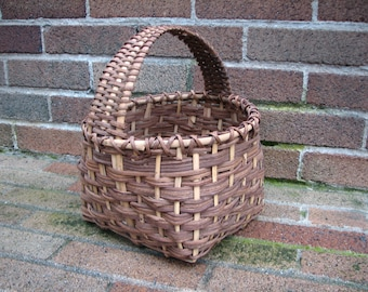 Lovely Vintage Woven Basket - Brown - Floral - Basket - Storage - Gathering Basket - Decor - Prop
