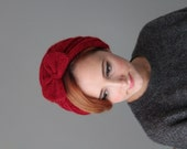 Red Crochet Beret with Bow