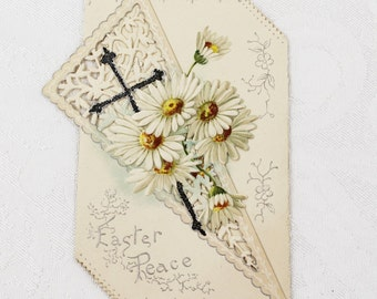 Antique 1900s Victorian Folding Easter Peace Embossed Die Cut Card