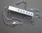 PERSONALIZED  4 Sided Bar Pendant Necklace. His or Hers GIFT Sister Brother.. Husband Wife.. Mom Dad.  Stamped Bar Necklace