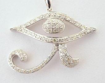 Eye of Horus Diamond 14k White Gold Pendant Egyptian GOD