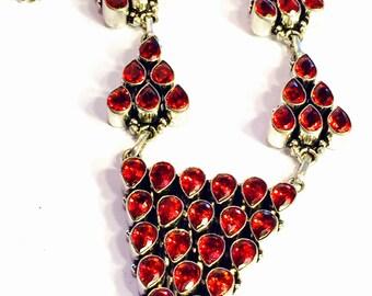 Beautiful Garnet Open back Sterling Silver Geometric Vintage Necklace