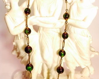 Beautiful Rare Green and Purple Marble Watermelon Art Glass Art Deco Brass Vintage Antique Necklace Art Deco Jewelry