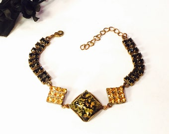 Art Deco Czech Yellow Art glass Black and Gold Rhinestone Vintage Bracelet Art Deco Jewelry