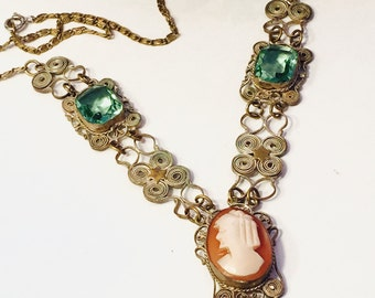 Beautiful Art Nouveau Art Deco Italian Silver Filigree Cameo Green Crystal Vintage Necklace