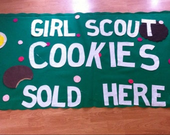 cookie booth banner- scouts- custom- personalized- large 3X6