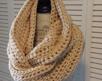 Chunky Knit Cowl Neckwarmer / Khaki Chunky Scarf  / Neckwarmer Cowl Scarf / Scarves Cowl / Crochet Knitted by MALASA