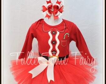 Christmas Santa Baby Bodysuit tutu dress combo 6/9 months First Christmas bow included