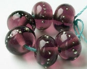 Amethyst Lampwork Spacer Beads ~ Handmade Glass Accent Bead Set