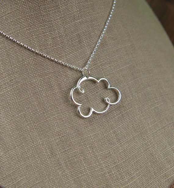 Large cloud pendant necklace in sterling silver, cloud necklace, rain cloud, silver lining, nature inspired