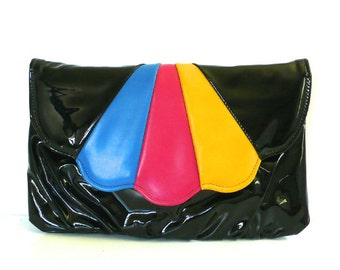 Vintage 80's Scalloped Patent Tri Color Clutch/Purse