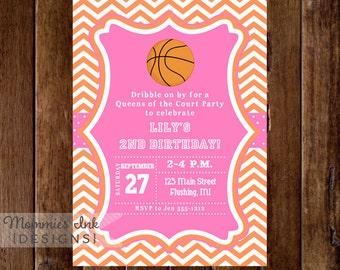 GIrls Chevron Basketball Invitation - Basketball Birthday Invitation - Queens of the Court Party - PRINTABLE INVITATION DESIGN