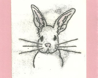 Easter Bunny! Art Print- Monotype Signed Original- 6 x 8 inch- Easter Sale
