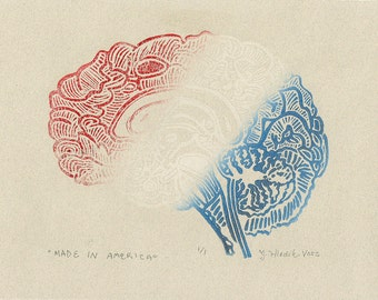 Made in America Brain Linocut- Patriotic Classic- Signed 1 of 1 Monoprint- 6 x 8