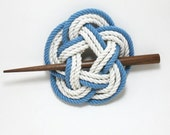 Sailor Knot Hair Stick Barrette in Blue and White