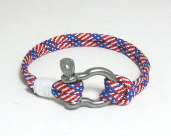Rope Bracelet Nautical Shackle Patriotic Stars and Stripes