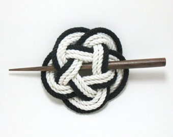 Sailor Knot Hair Stick Barrette in Black and White