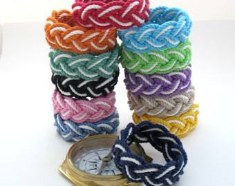 Two Color Nautical Bracelet, Sailor Knot Bracelet Woven with Cotton Cord into a rope bracelet choose from 12 color combinations