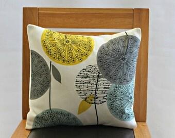 mustard teal grey pillow yellow dandelion gray black clock allium design cushion cover shams UK designer fabric One 16 inch