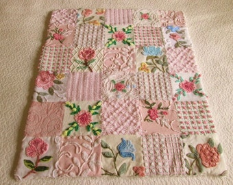 Custom - Flowers Galore - Vintage Chenille Baby Quilt