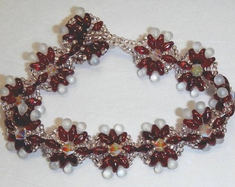 Glass Beaded Bracelet Garnet Red and Frosted Glass
