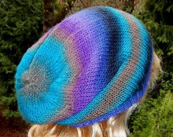 Hand Knit Slouchy Beanie Lightweight In Cool Winter Colors