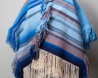 NOS 1970s Ruana Poncho Vintage 1970s Hand Woven Local Tucson Artist S M L Surfer Sky Blue Dark Blue Grey and Black High Plaines Drifter