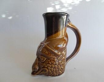 Dragon Beer Mug Glazed in Turkish Amber, Original Design Fantasy Art, Handcrafted Stoneware for Costumed Events, Renaissance, Medieval, SCA